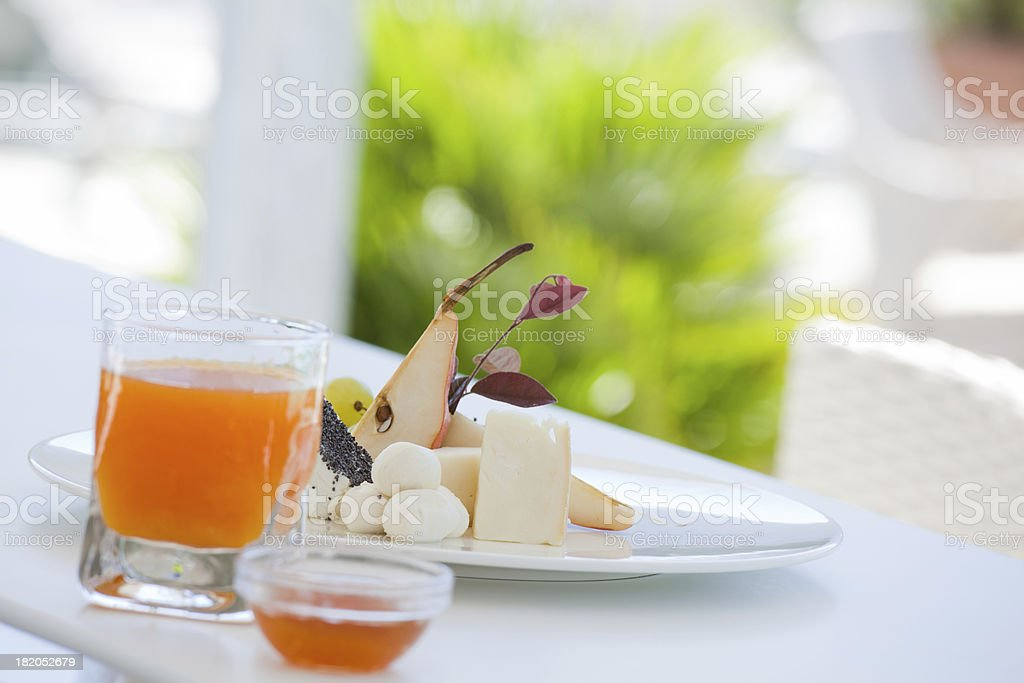 Fresh Fruit and Cheese Breakfast royalty-free stock photo