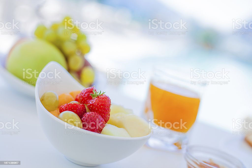 Fresh Fruit and Orange Juice Hotel Breakfast stock photo