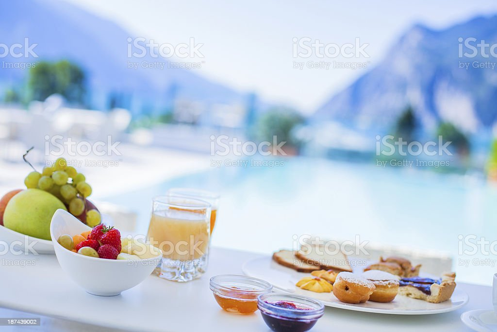 Fresh Fruit and Pastry Hotel Breakfast royalty-free stock photo