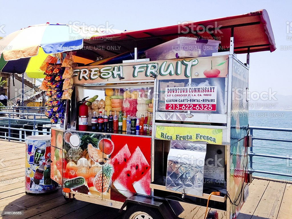 Fresh Fruit and Snacks Stand on Santa Monica Pier royalty-free stock photo