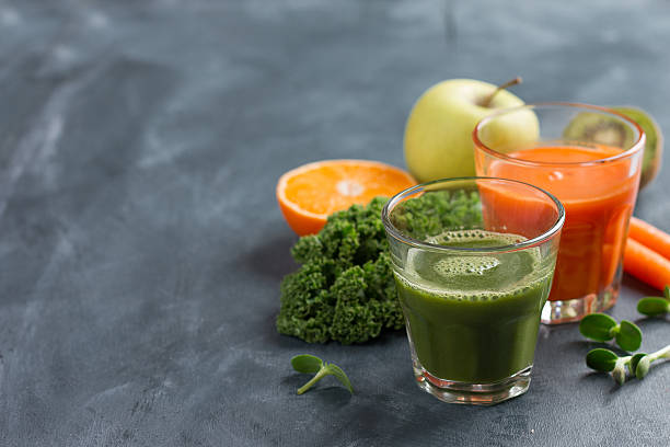 Fresh fruit and vegetable juice for healthy lifestyle stock photo
