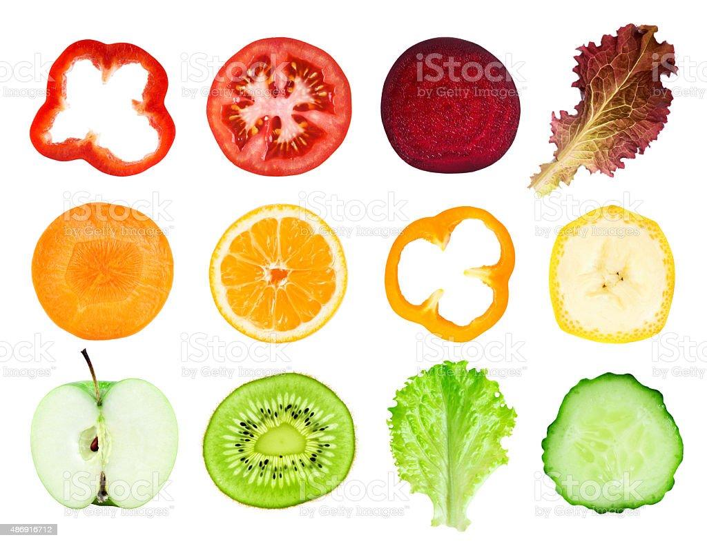Frisches Obst und Gemüse Scheiben – Foto