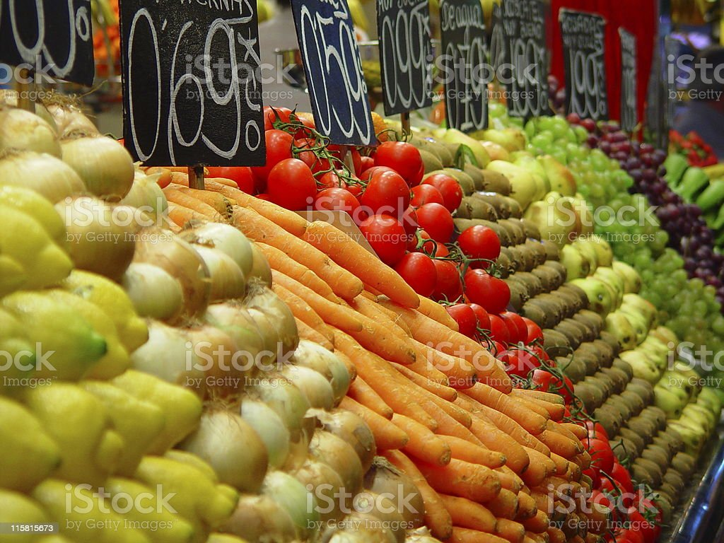 fresh fruit and vegetables at market stand royalty-free stock photo