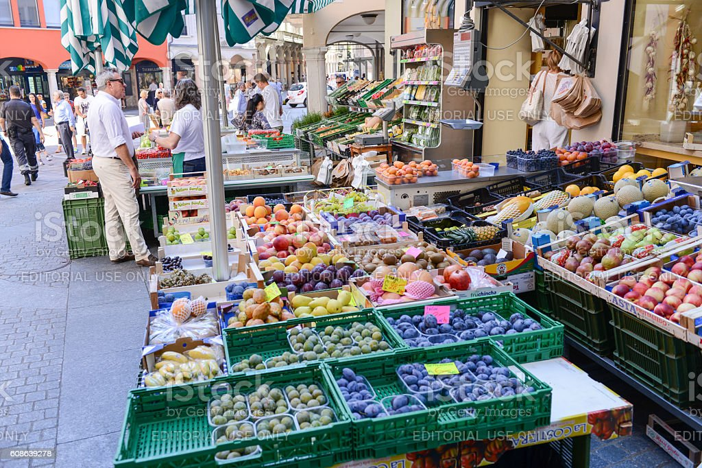 Fresh fruit and vegetables market of Lugano, Switzerland stock photo
