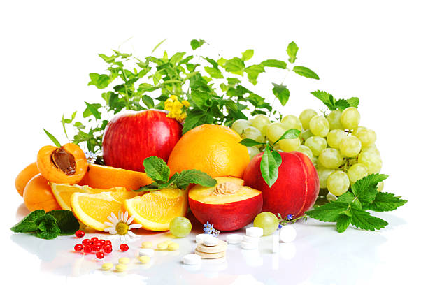 fresh fruit and vitamins stock photo