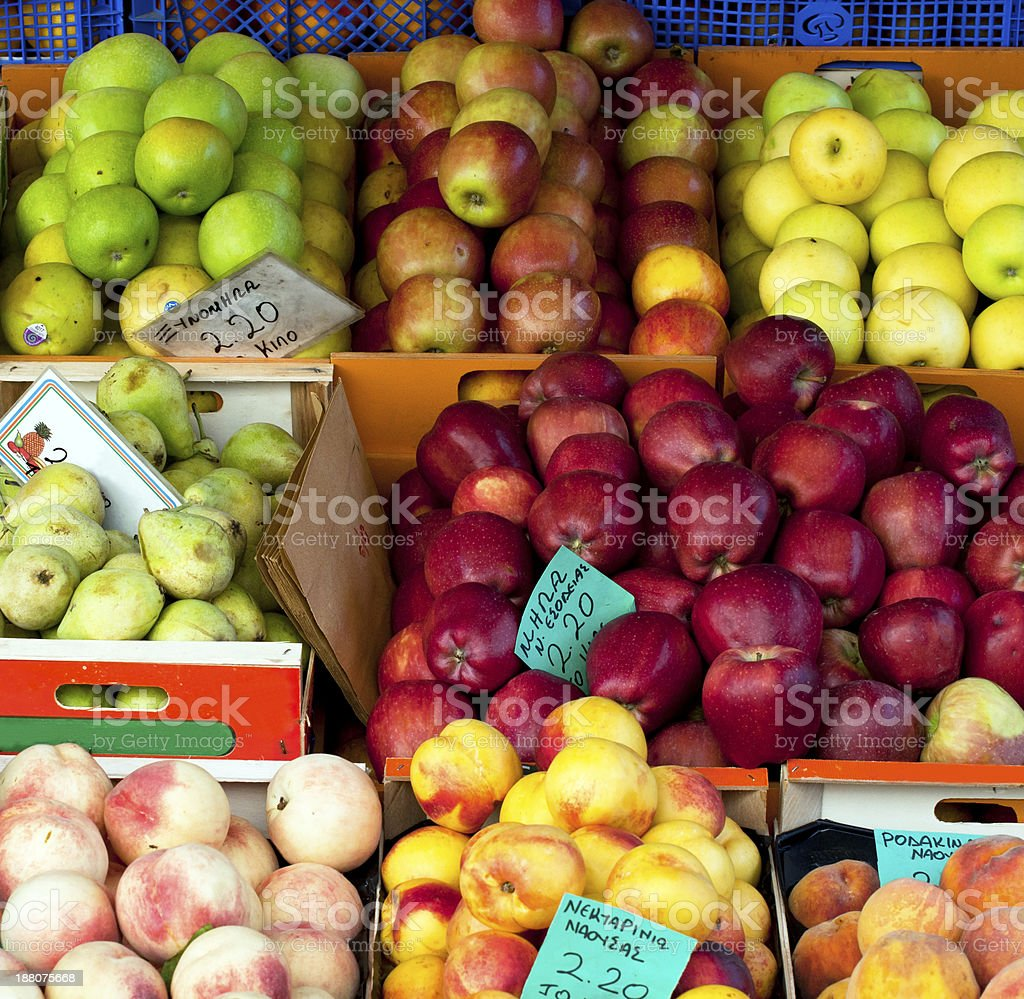 Fresh fruit at a market stall royalty-free stock photo