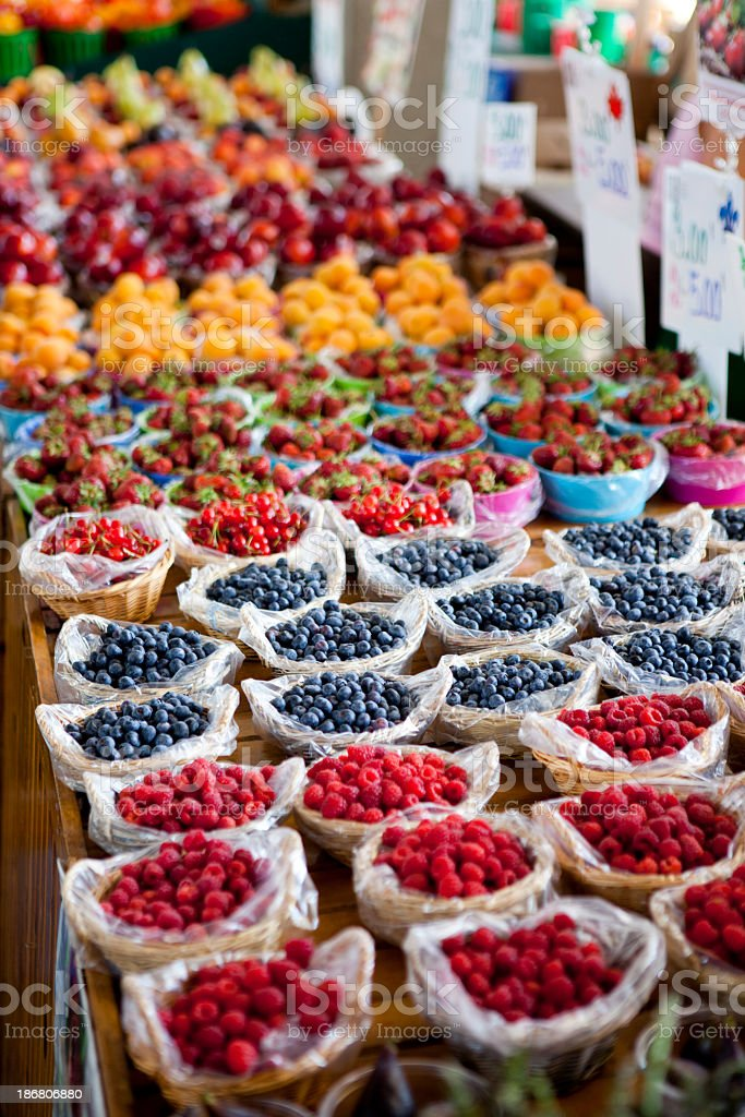 Fresh Fruit at a Montreal Farmers Market, Quebec, Canada royalty-free stock photo