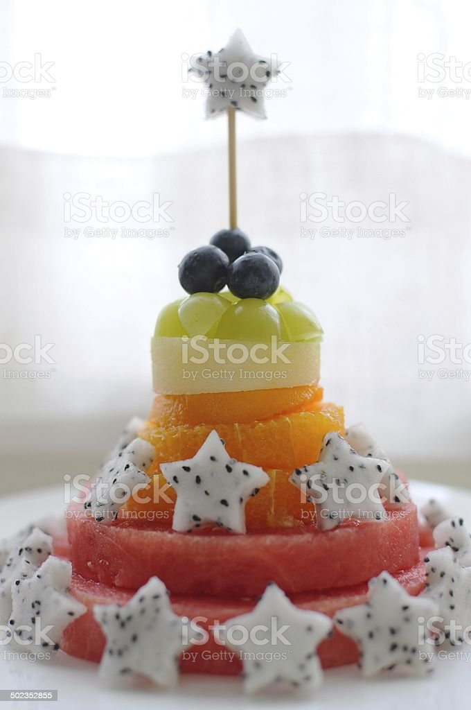Superb Fresh Fruit Birthday Cake Stock Photo Download Image Now Istock Funny Birthday Cards Online Overcheapnameinfo