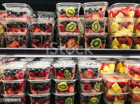 Fresh fruit boxes in a market retail display