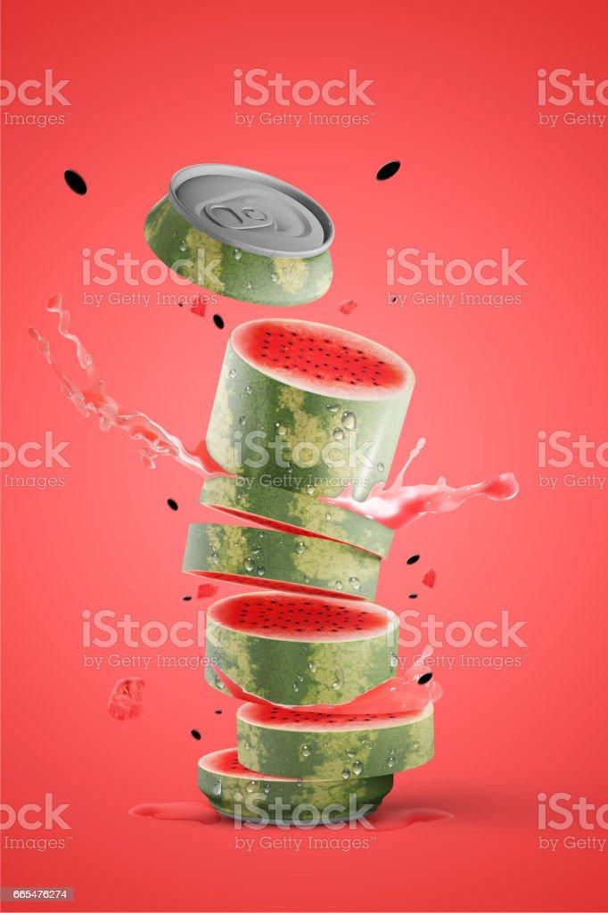 Fresh fruit can with splash - foto stock