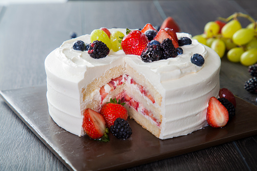 Fresh Fruit Cream Cake for Birthday Party