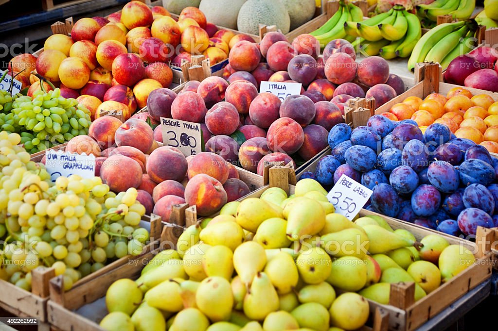 Fresh Fruit Display in Open Food Market in Rome Italy stock photo
