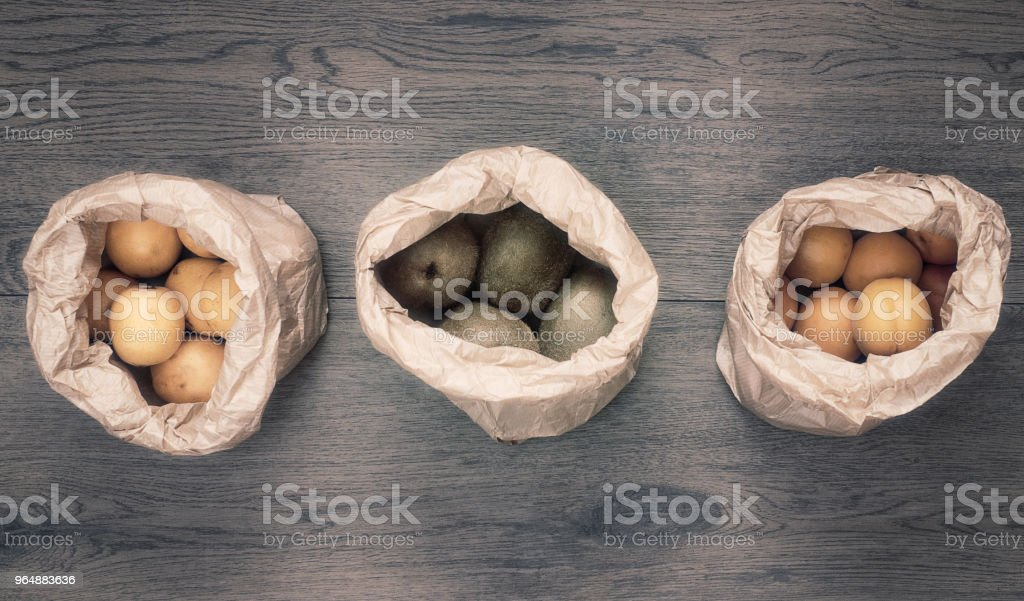 fresh fruit in paper bags on wood royalty-free stock photo
