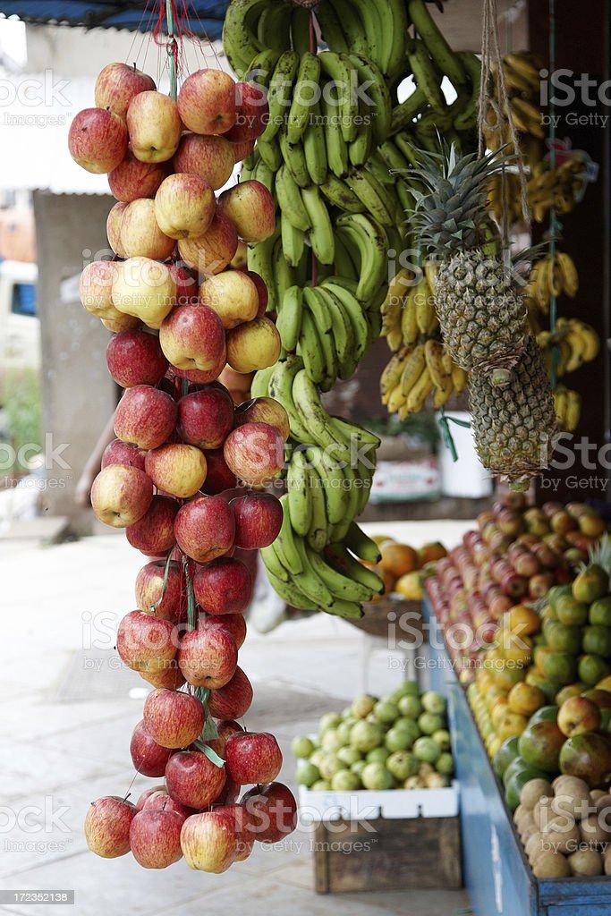 Fresh fruit on Indian roadside market stall royalty-free stock photo