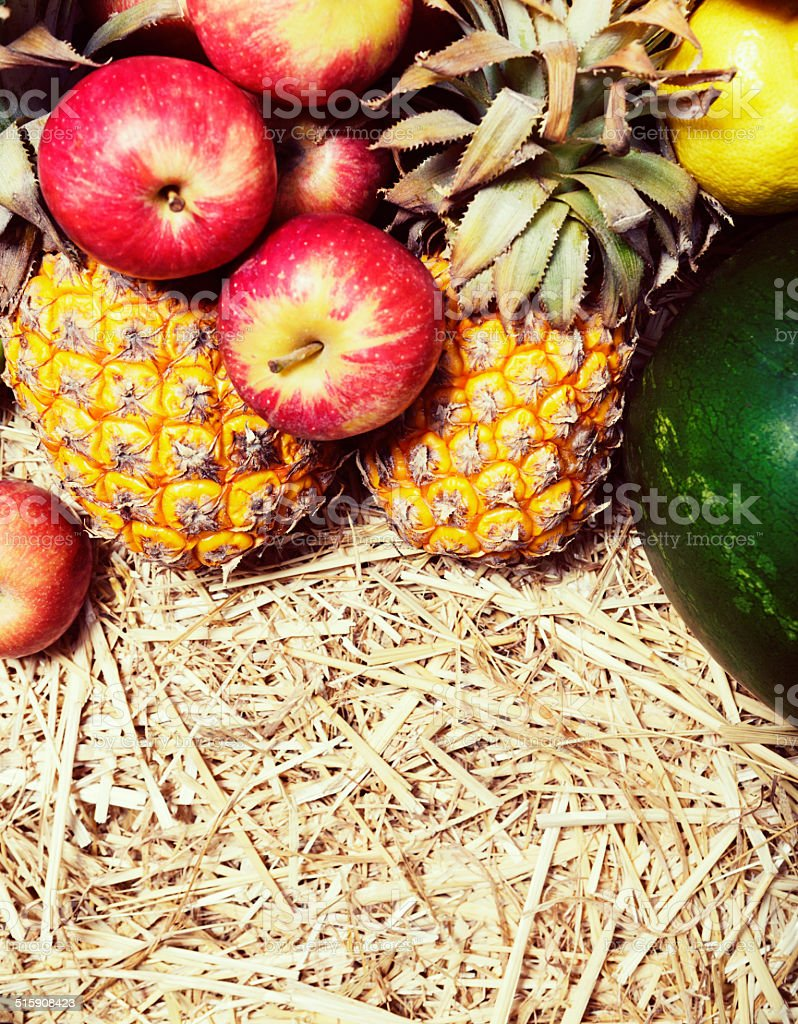 Fresh fruit on straw looks juicily appetizing stock photo