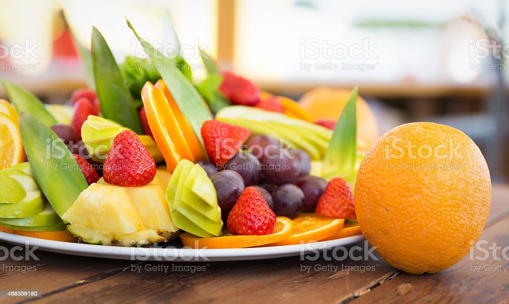 Fresh fruit party plate royalty-free stock photo