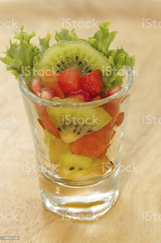 Fresh fruit salad in glasses royalty-free stock photo