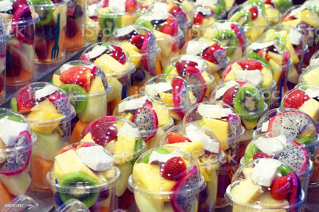 fresh fruit salad to go stock photo more pictures of barcelona spain istock. Black Bedroom Furniture Sets. Home Design Ideas