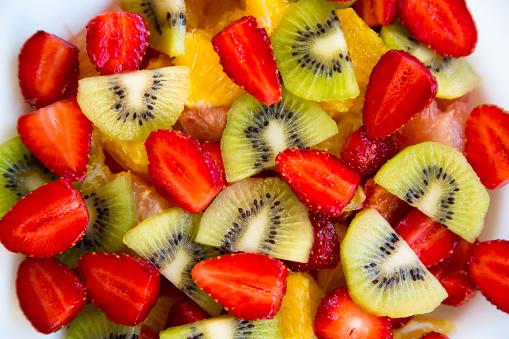 Fresh Fruit Salad Top View Closeup Stock Photo - Download Image Now