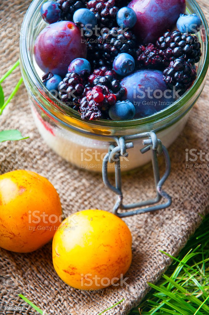 Fresh fruit sealed in a jar. Grass background photo libre de droits