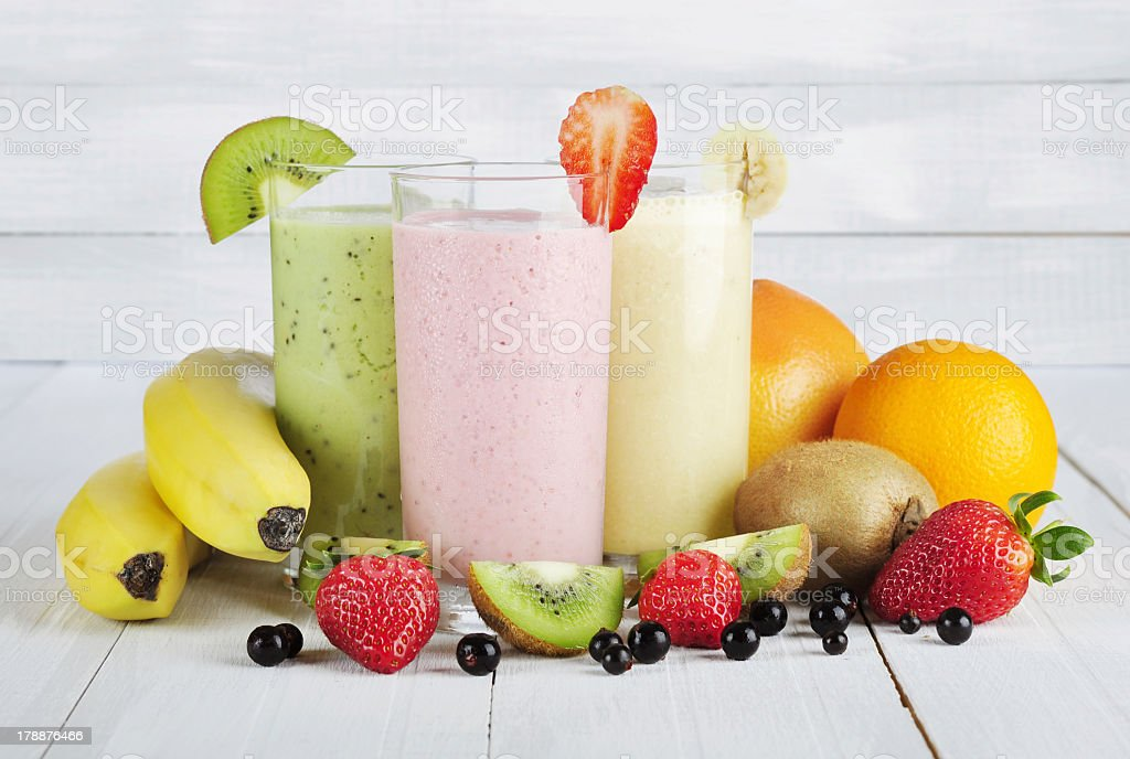 Fresh fruit smoothies with real fruit stock photo