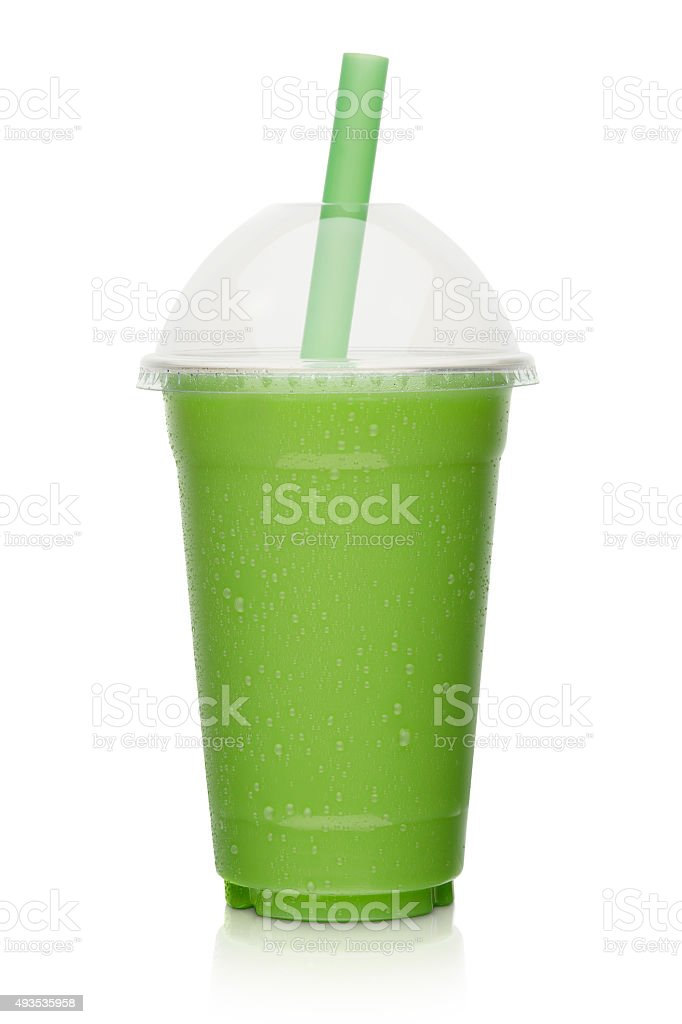 fresh fruit vegetable smoothie, shake isolated stock photo