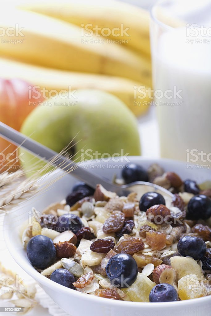 Fresh fruits and cereal for breakfast royalty-free stock photo