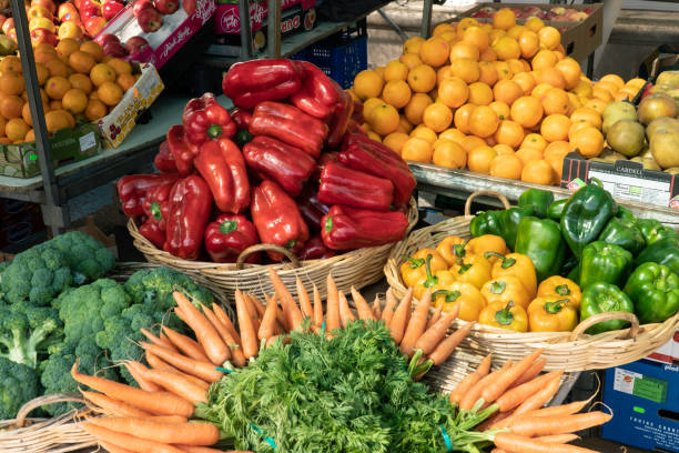 Fresh fruits and vegetables at Spanish farmers market stock photo
