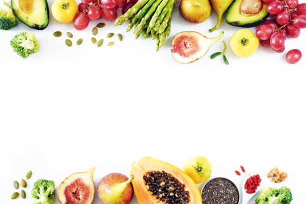 fresh fruits and vegetables food frame over white background with empty space. - verdura cibo foto e immagini stock
