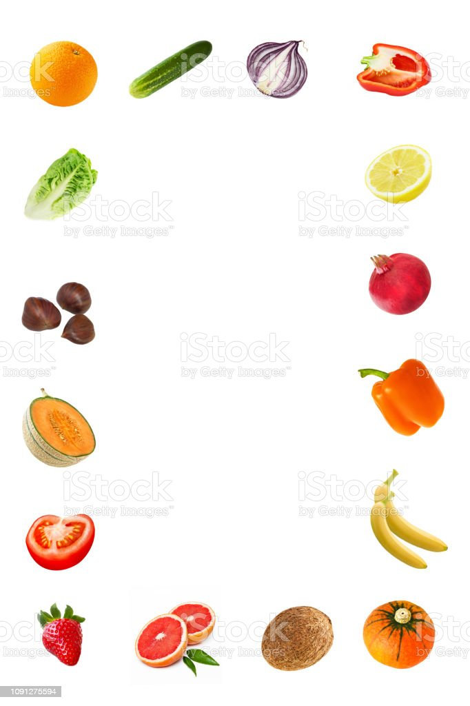 Fresh fruits and vegetables isolated against background stock photo