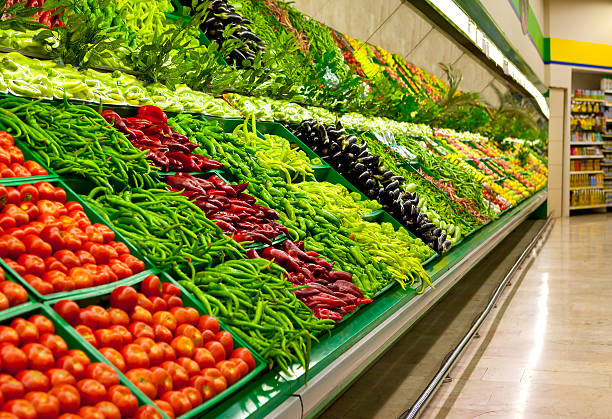 Fresh Fruits and Vegetables  produce aisle stock pictures, royalty-free photos & images