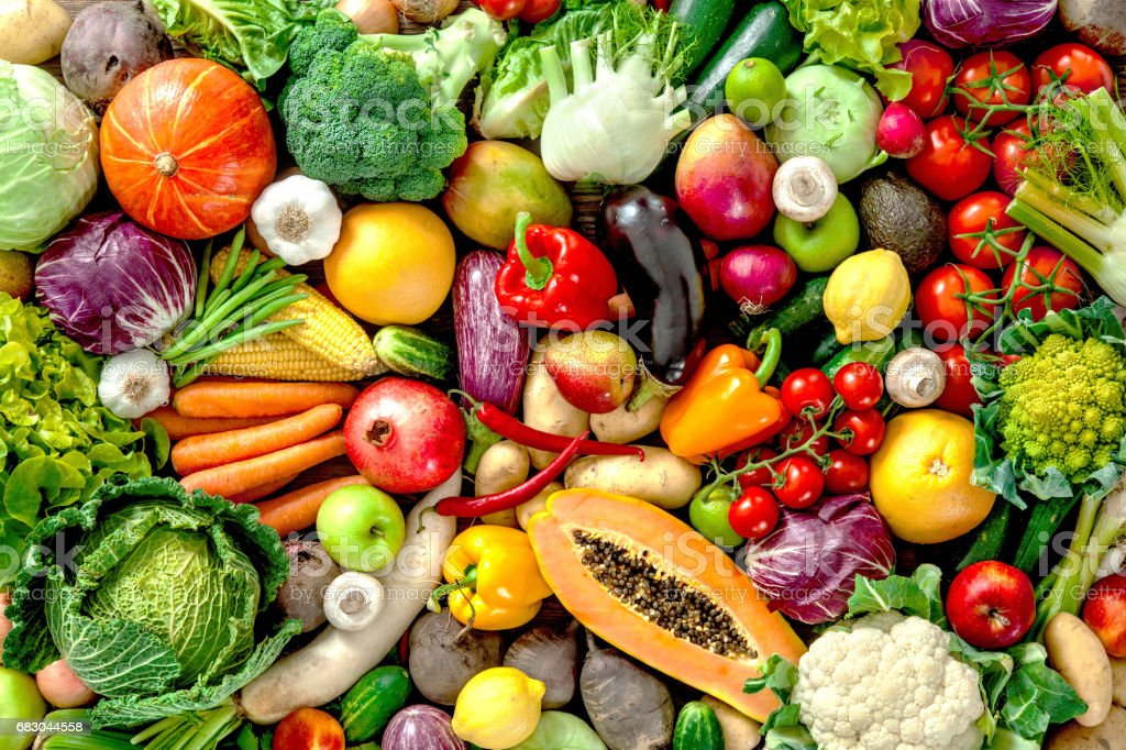 Fresh fruits and vegetables - foto stock