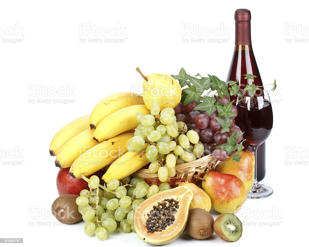 Fresh fruits and wine royalty-free stock photo