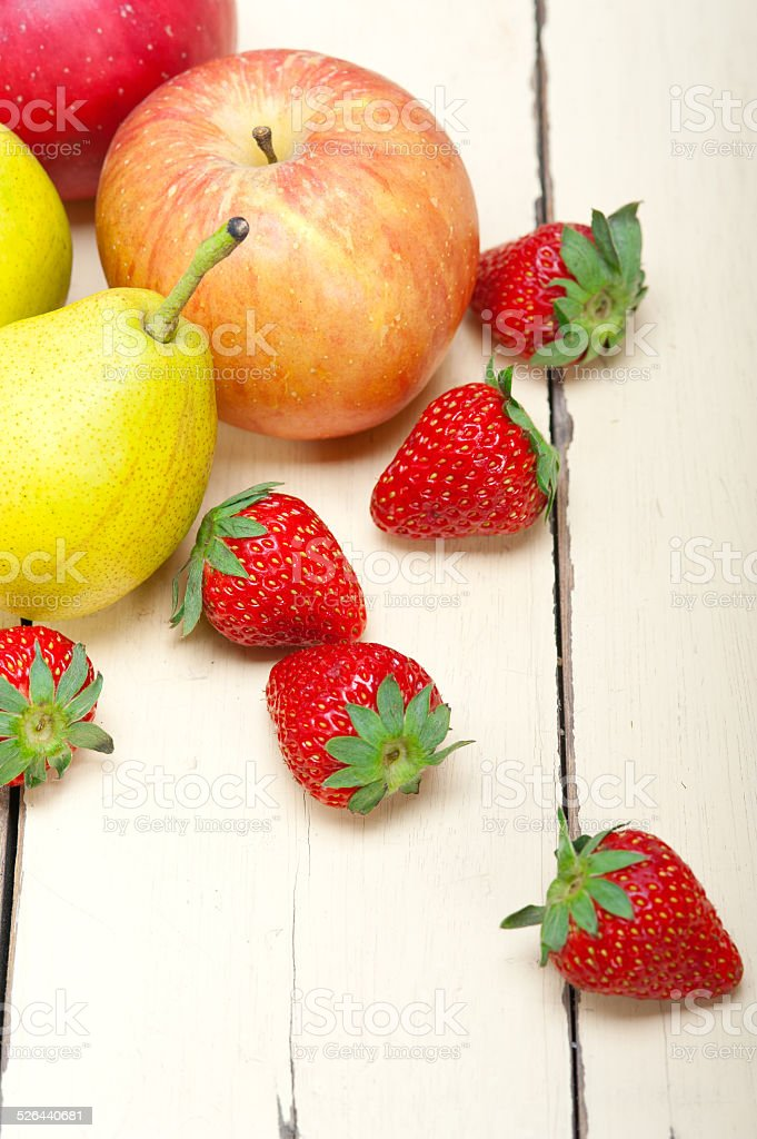 fresh fruits apples pears and strawberrys stock photo