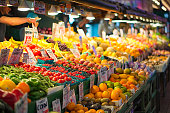Seattle, United States - May 3rd, 2017: Its fresh fruits at the old farmer's market, Pike Place in Downtown Seattle, Washington.