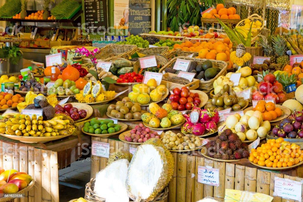 Fresh fruits on a market stock photo