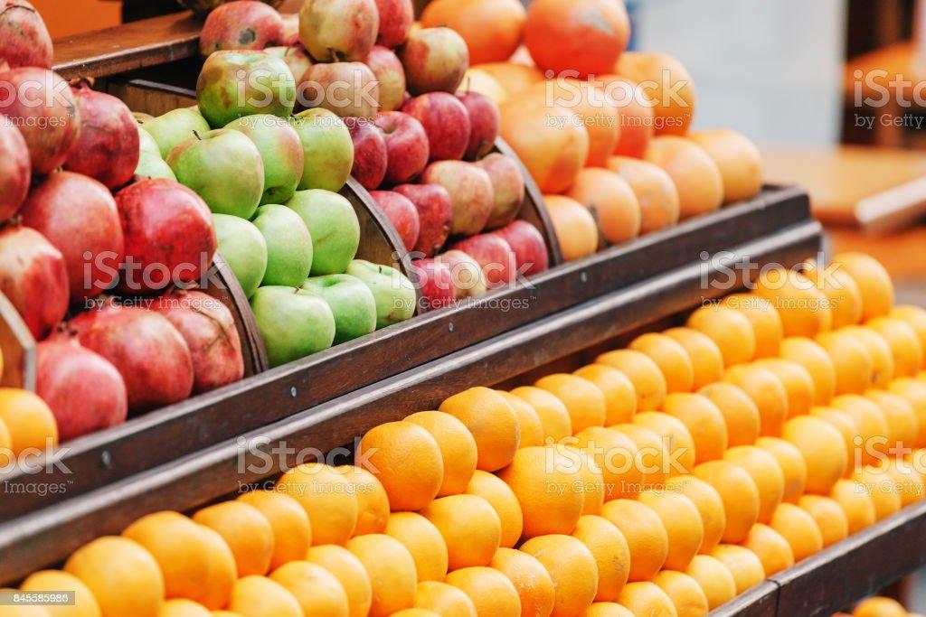 Fresh fruits on a Turkish market. Turkey. Istanbul. stock photo