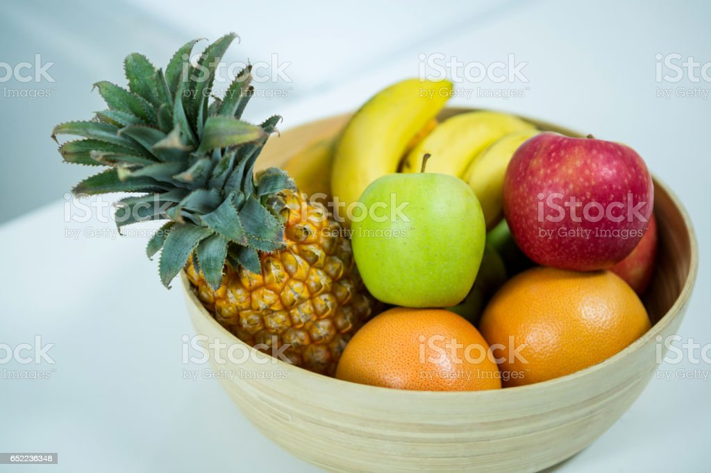 Fresh fruits on the kitchen table stock photo