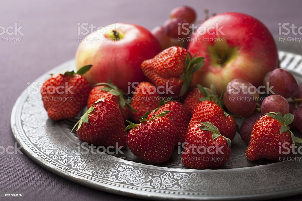 fresh fruits on vintage plate royalty-free stock photo