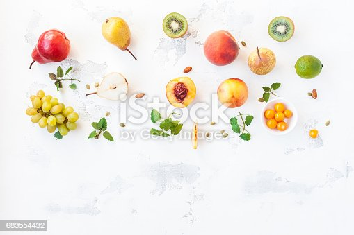 istock Fresh fruits on white background. Flat lay, top view 683554432
