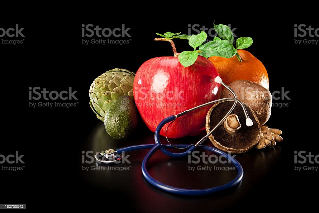 Fresh Fruits Vegetables and Stethoscope royalty-free stock photo