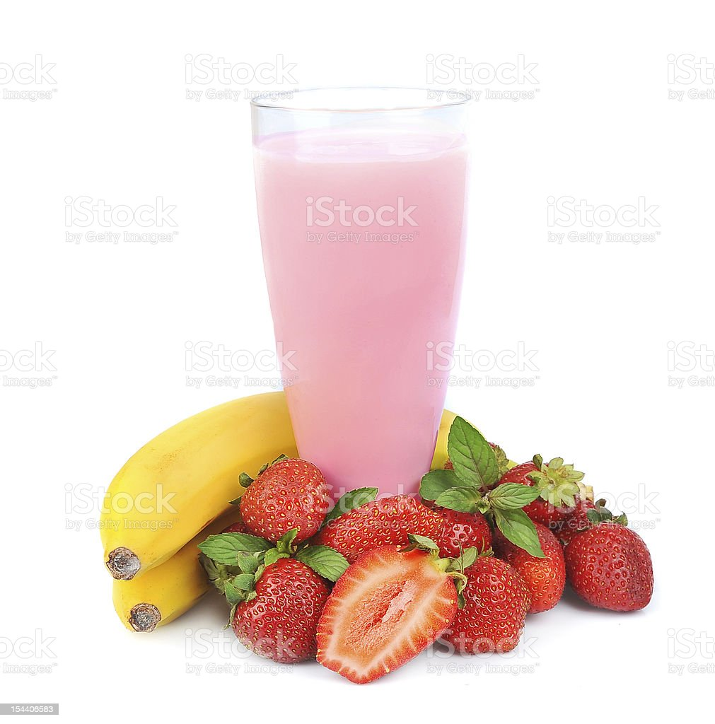 Fresh fruits with bananas and smoothies stock photo