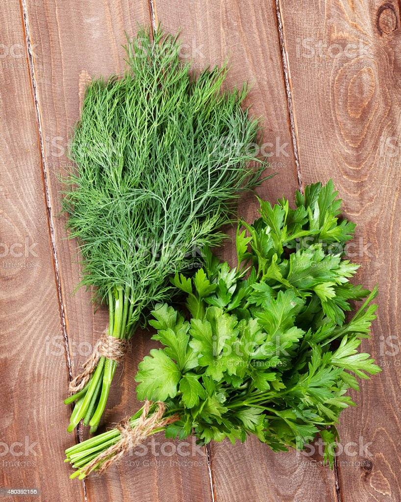 Fresh Garden Dill And Parsley Royalty Free Stock Photo