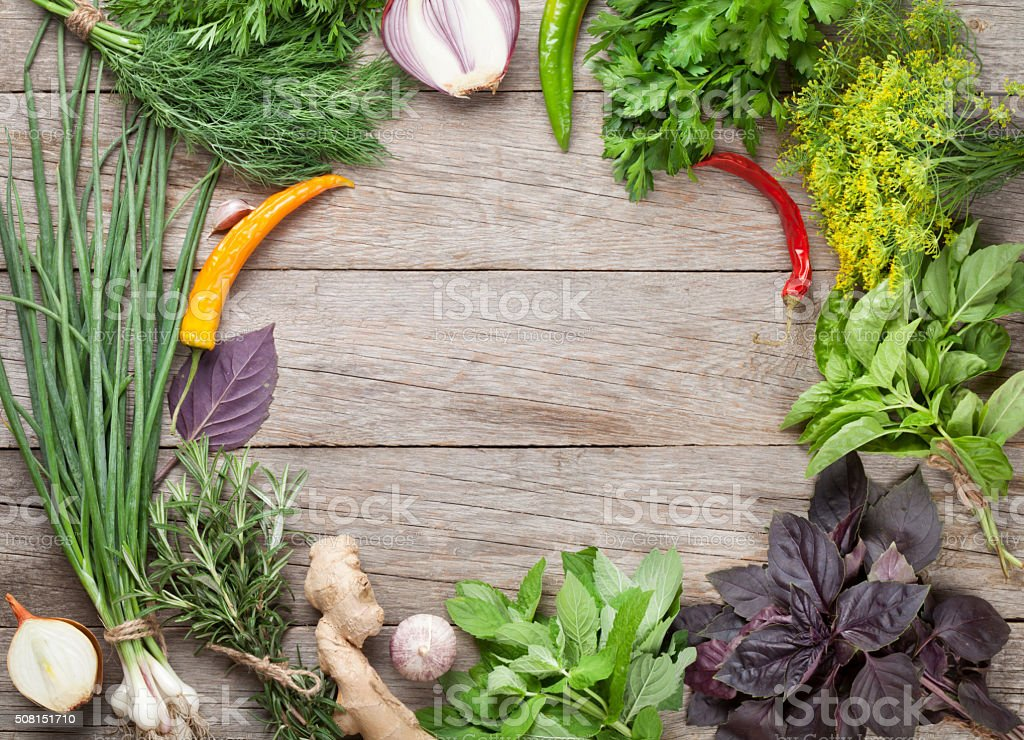 Fresh garden herbs and spices stock photo