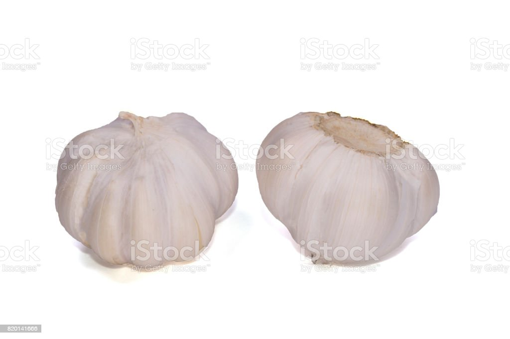 Fresh garlic isolated on white background with clipping path. stock photo
