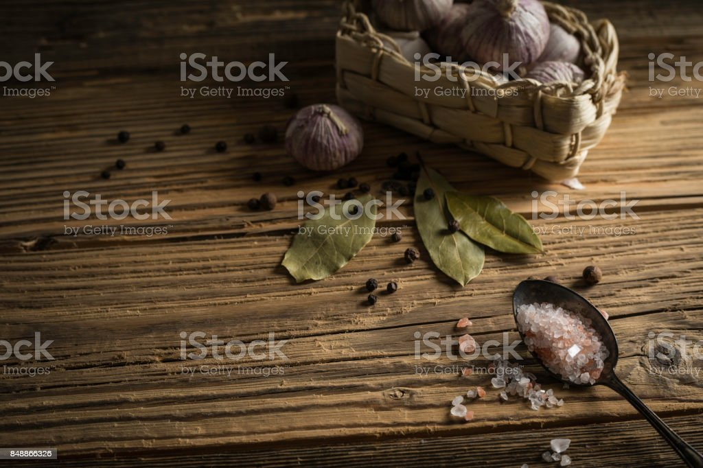 fresh garlic with spices stock photo