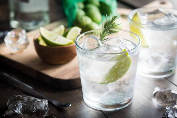 frische gin tonic - cocktails mit wodka stock-fotos und bilder