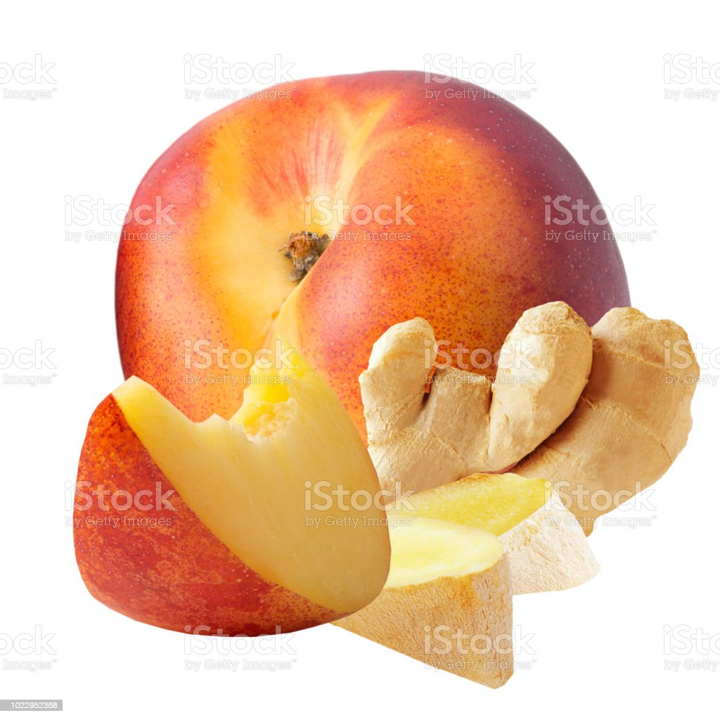 fresh ginger and peaches isolated on white background - foto stock