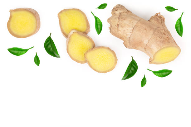 fresh ginger root and slice isolated on white background with copy space for your text. top view. flat lay - imbir zdjęcia i obrazy z banku zdjęć