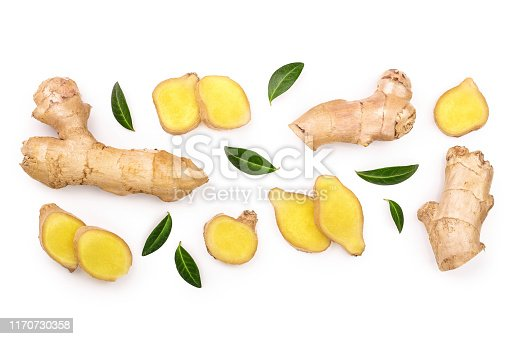 fresh Ginger root and slice isolated on white background with copy space for your text. Top view. Flat lay.